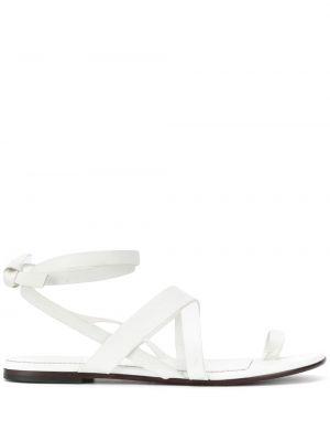 Białe sandały skorzane na niskim obcasie Emilio Pucci
