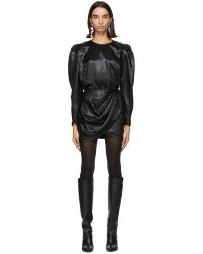 Jedwab czarny sukienka mini z kołnierzem z mankietami Isabel Marant