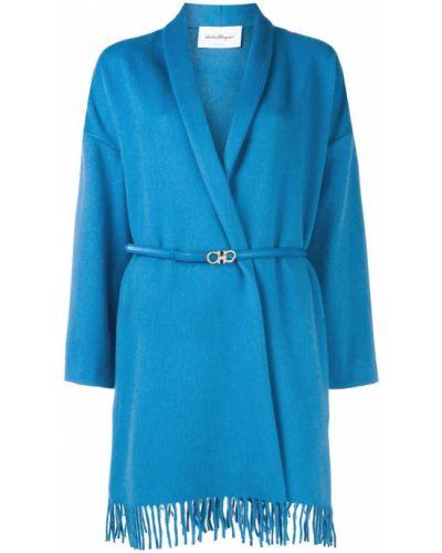Синее длинное пальто с капюшоном Salvatore Ferragamo
