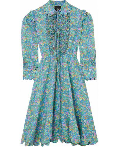 Niebieska sukienka midi koronkowa bawełniana Horror Vacui