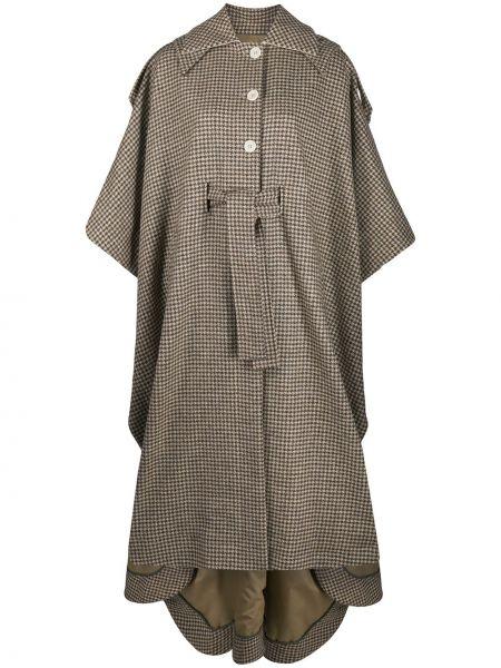 Классическое шерстяное пальто с капюшоном с воротником на пуговицах Jejia