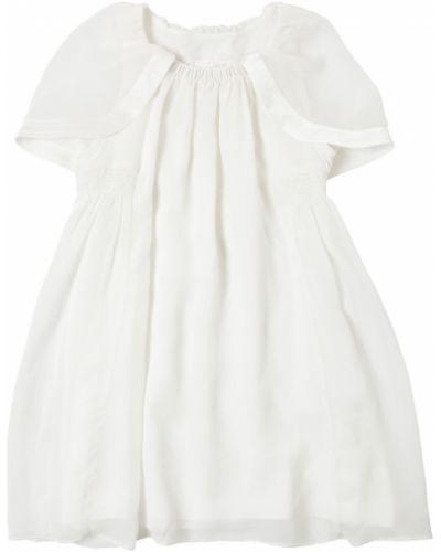 Шелковое белое платье с декольте Chloé