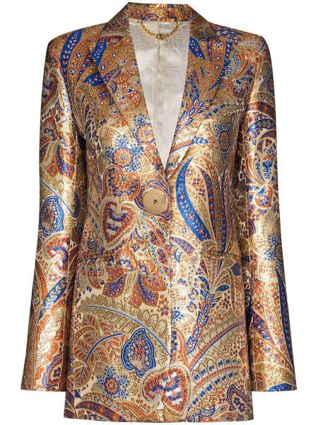 Шелковый желтый удлиненный пиджак с карманами Paco Rabanne