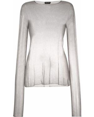 Серый вязаный свитер в рубчик металлический Giorgio Armani
