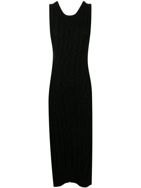 Черное приталенное платье миди без рукавов с вырезом Telfar