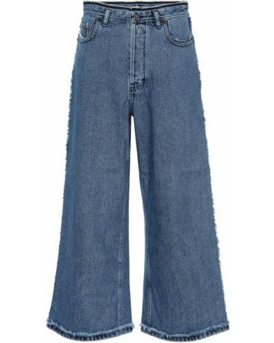 Bezpłatne cięcie bawełna niebieski bawełna szeroki jeansy Acne Studios
