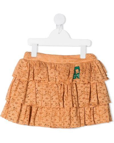 Коричневая юбка мини с оборками с поясом Mini Rodini