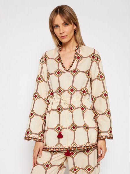 Beżowa tunika z haftem Tory Burch