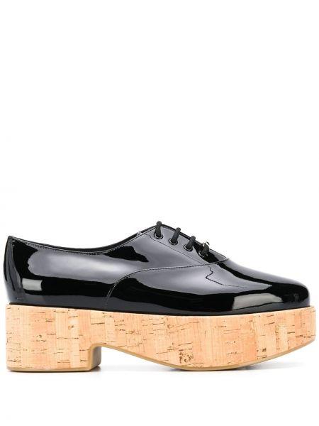 Туфли на каблуке черные на платформе Salvatore Ferragamo