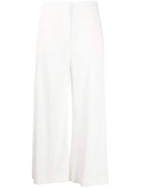 Льняные с завышенной талией белые укороченные брюки Pt01