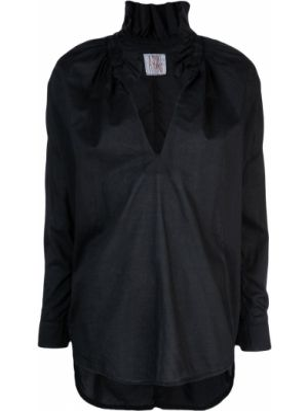 Черный топ с оборками на пуговицах свободного кроя A Shirt Thing