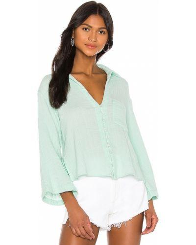 Хлопковая комбинированная блузка мятная Ellejay