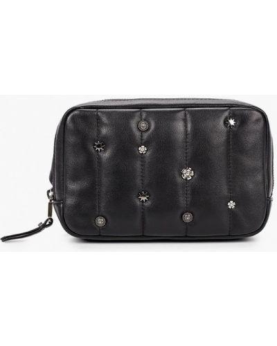 Черная поясная сумка из натуральной кожи Eleganzza