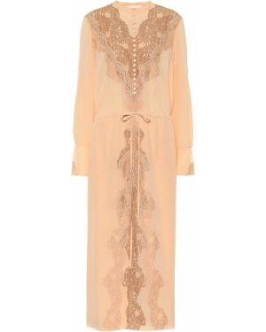 Платье макси розовое шелковое Chloé