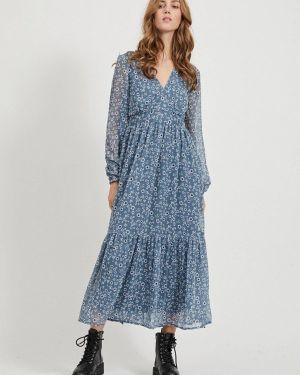 Платье прямое синее Vila