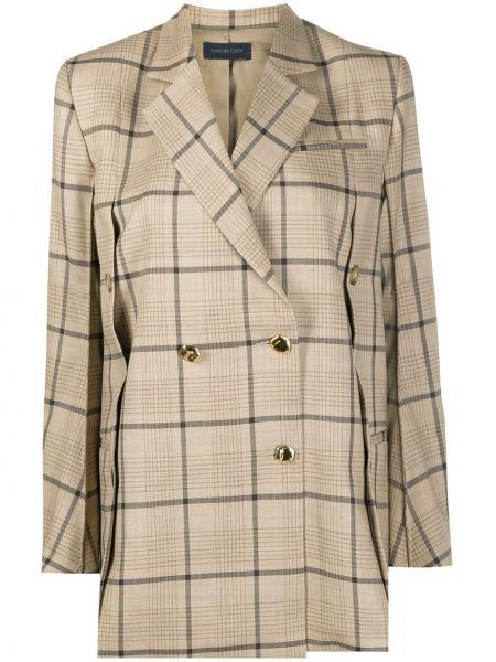 Бежевый удлиненный пиджак двубортный с карманами Eudon Choi