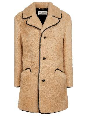 Бежевое кожаное пальто Saint Laurent