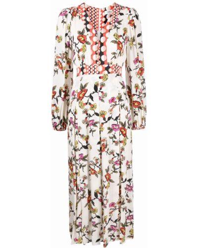 Biała sukienka długa w kwiaty Dvf Diane Von Furstenberg