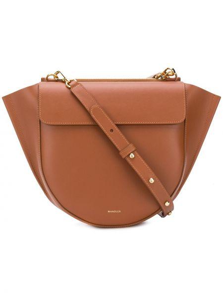 Кожаная коричневая сумка-тоут на молнии с карманами Wandler