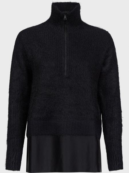 Черный шерстяной свитер на молнии N°21