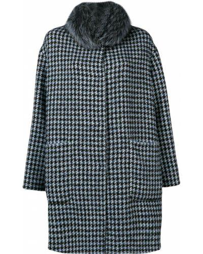 Синее шерстяное пальто с воротником Manzoni 24