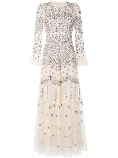 Платье со вставками прозрачное на молнии с вырезом Needle & Thread