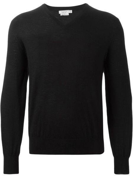 Кашемировый черный свитер с V-образным вырезом Fashion Clinic Timeless
