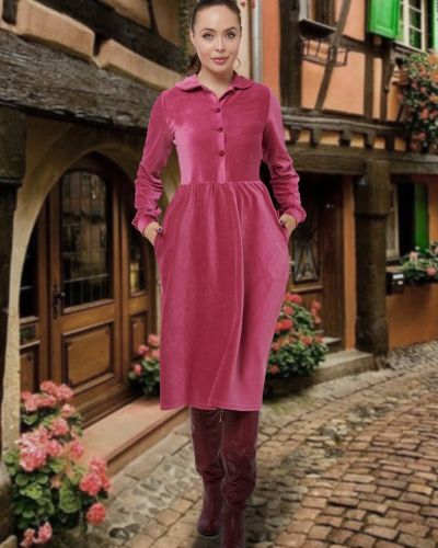 Приталенное повседневное платье-рубашка вельветовое Mix-mode