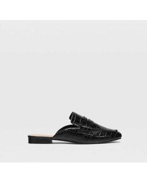Туфли на каблуке черные без каблука Stradivarius