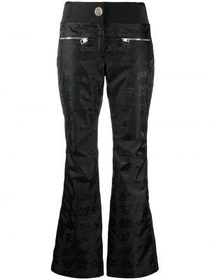 Расклешенные черные брюки с полоской по бокам с карманами Rossignol