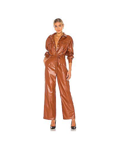 Оранжевый кожаный комбинезон с карманами с завязками L'academie