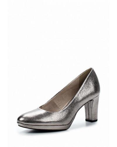 Туфли на каблуке серебряного цвета Tamaris