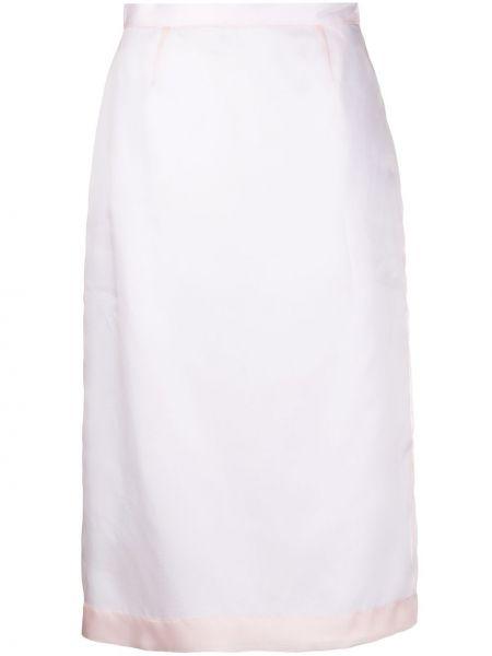 Розовая шелковая с завышенной талией юбка миди Emilio Pucci