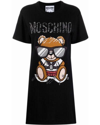 Черное платье короткое Moschino
