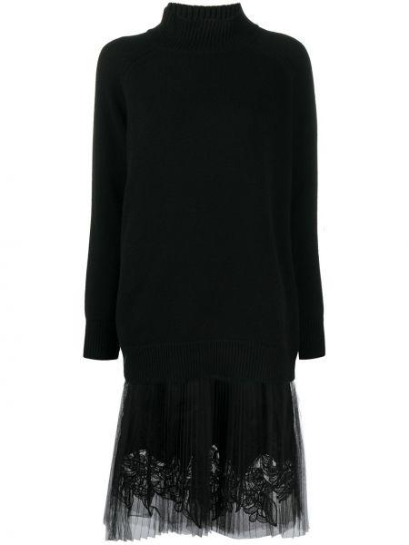 С рукавами вязаное черное платье миди Ermanno Scervino
