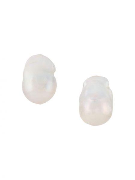 Białe złote kolczyki sztyfty perły Monies