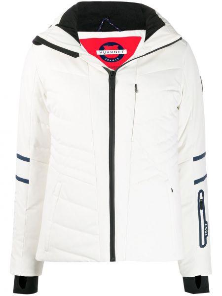 Приталенная куртка с капюшоном на молнии мятная с карманами Vuarnet