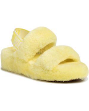 Żółte kapcie skorzane Ugg
