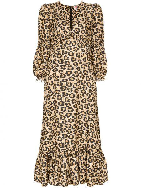 Платье миди леопардовое с V-образным вырезом Shrimps