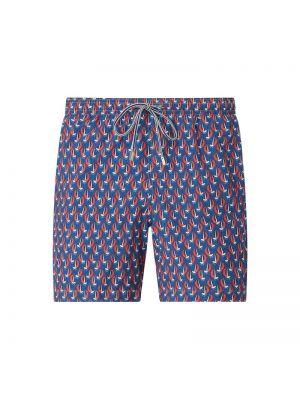 Niebieskie spodnie z printem na rzepy Zeybra