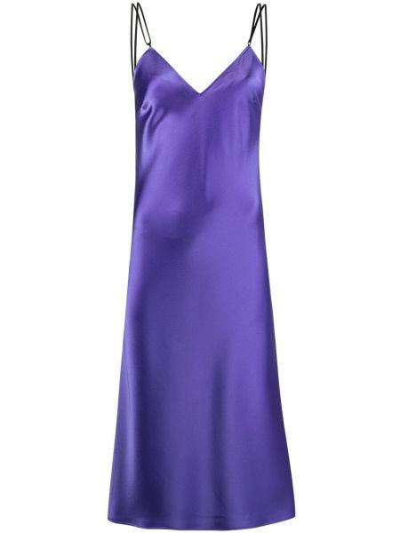 Фиолетовое открытое платье миди с открытой спиной Ssheena