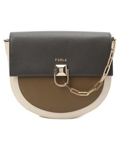 Кожаная серая сумка через плечо Furla
