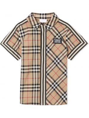 Хлопковая классическая коричневая рубашка с карманами Burberry Kids