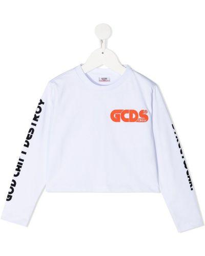 Прямая белая футболка с длинными рукавами Gcds Kids