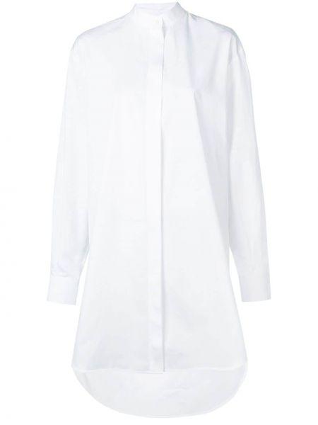 С рукавами хлопковое белое платье на пуговицах Givenchy