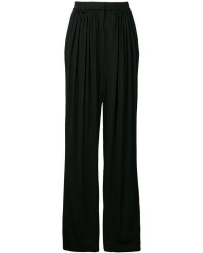Черные свободные брюки со складками на пуговицах свободного кроя Frenken