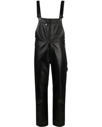 Кожаный черный комбинезон с карманами Manokhi
