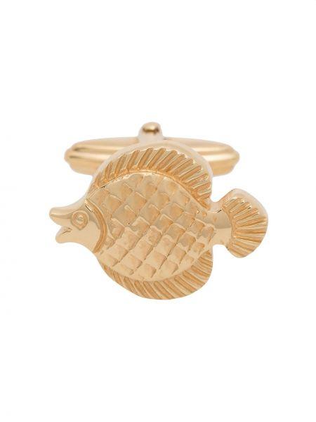 Золотистые запонки золотые металлические Lanvin