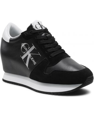 Sneakersy na koturnie skorzane - czarne Calvin Klein Jeans