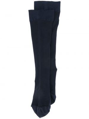 Синие вязаные носки высокие с декоративной отделкой Falke